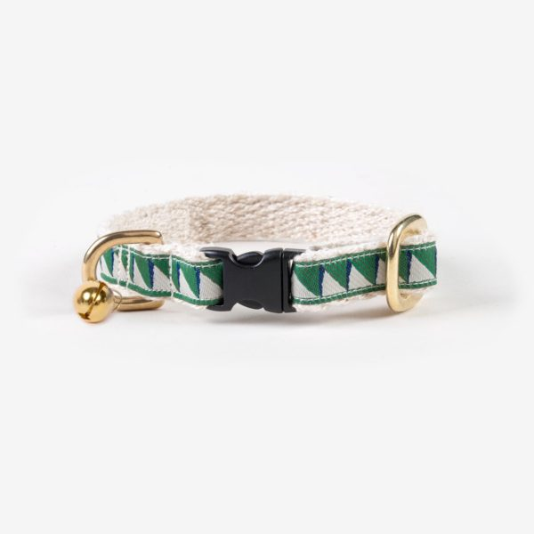 SEE SCOUT SLEEP Cat Collar Nice Grill (Emerald, Navy & Cream)